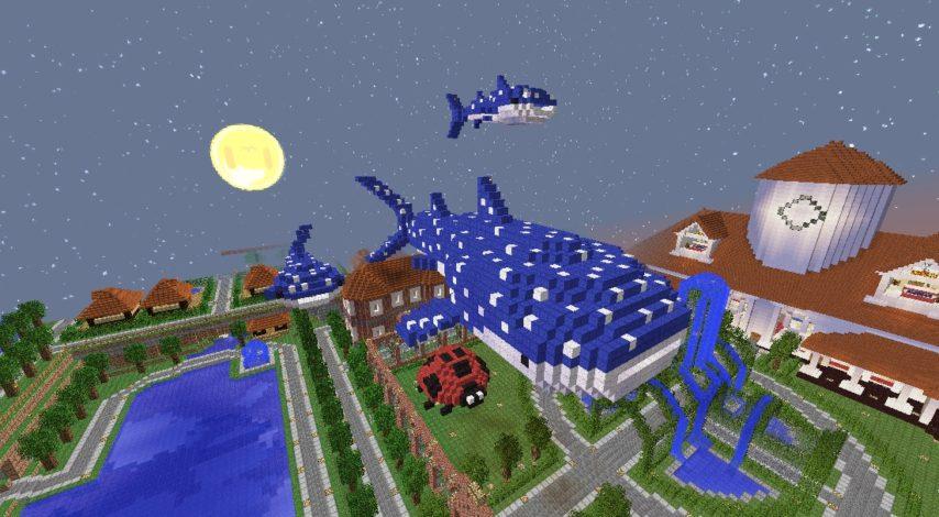 Minecrafterししゃもがマインクラフトでぷっこ村に空飛ぶジンベエザメを作成する4