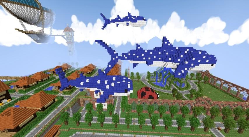 Minecrafterししゃもがマインクラフトでぷっこ村に空飛ぶジンベエザメを作成する2