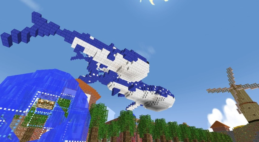 Minecrafterししゃもがマインクラフトでぷっこ村に空飛ぶジンベエザメを作成する3