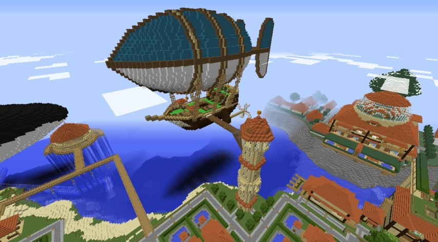 Minecrafterししゃもがマインクラフトでぷっこ村に観光用の遊覧飛行船を建設する1