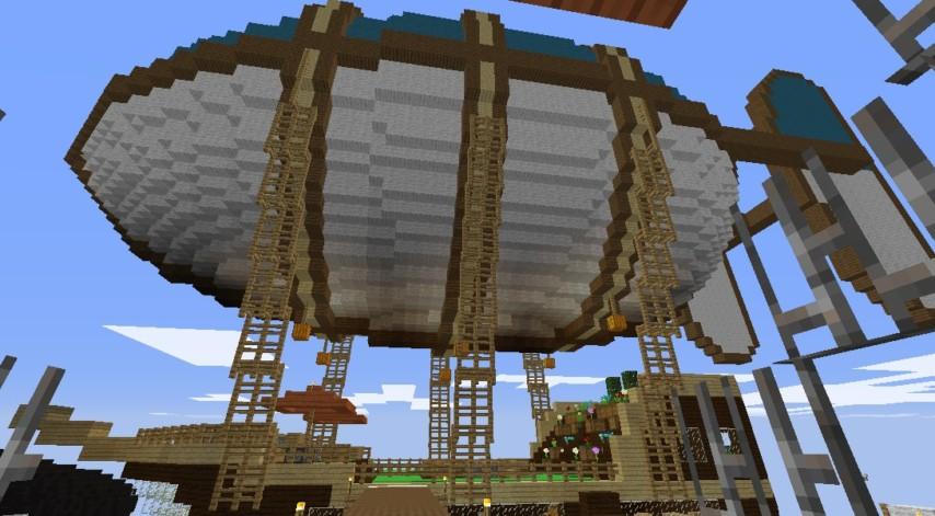 Minecrafterししゃもがマインクラフトでぷっこ村に観光用の遊覧飛行船を建設する2