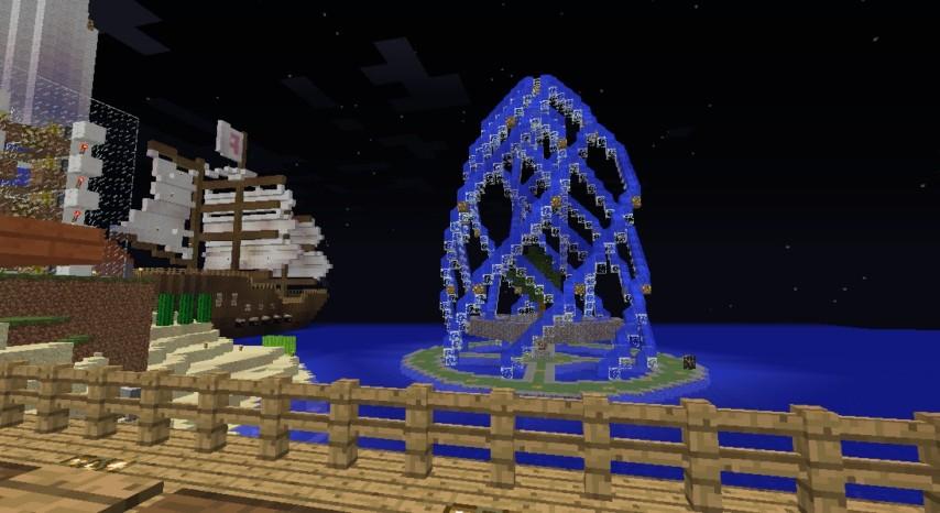 Minecrafterししゃもがマインクラフトでぷっこ村に巨大な噴水を建設する6