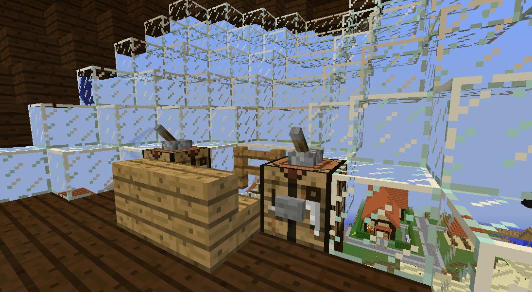 Minecrafterししゃもがマインクラフトでぷっこ村に観光用の遊覧飛行船を建設する9