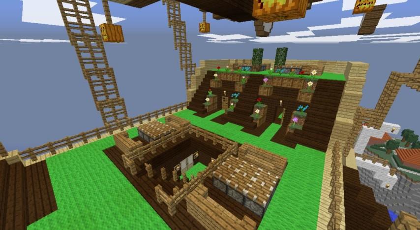 Minecrafterししゃもがマインクラフトでぷっこ村に観光用の遊覧飛行船を建設する3
