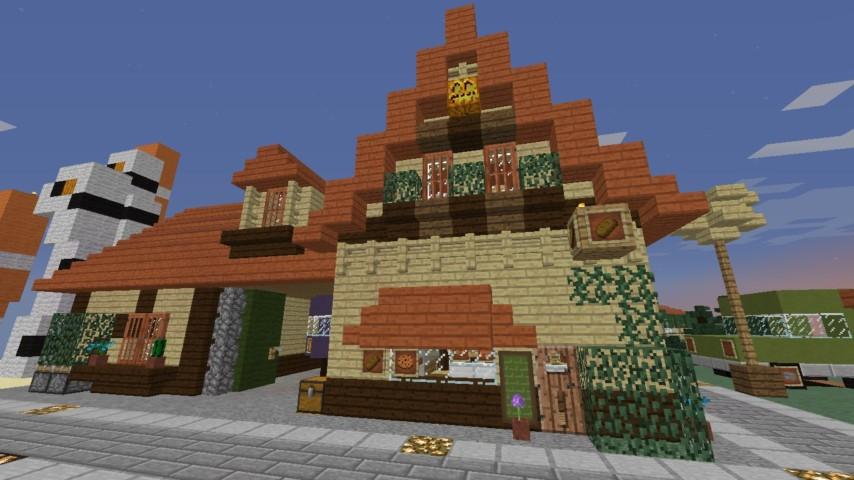 Minecrafterししゃもがマインクラフトでぷっこ村にジブリのグーチョキパン店をアレンジして建設する3