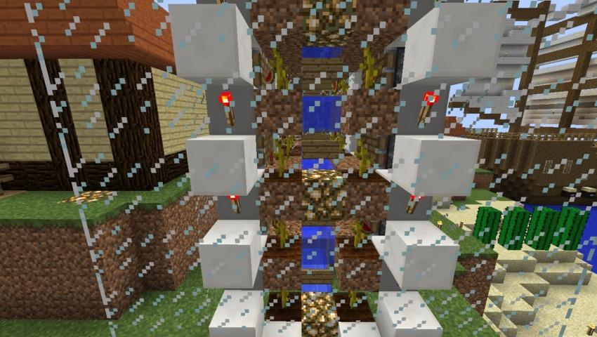 Minecrafterししゃもがマインクラフトでぷっこ村の全自動カボチャスイカ栽培機を紹介する9