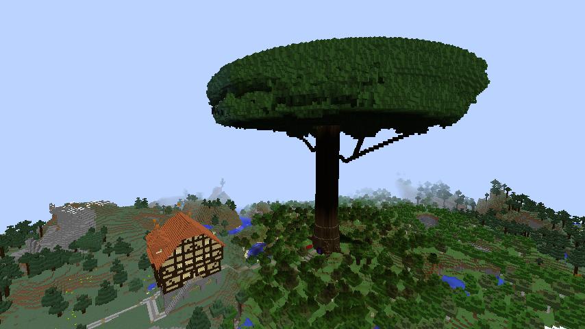 Minecrafterししゃもがマインクラフトでぷっこ村の外れに大樹を作成する1
