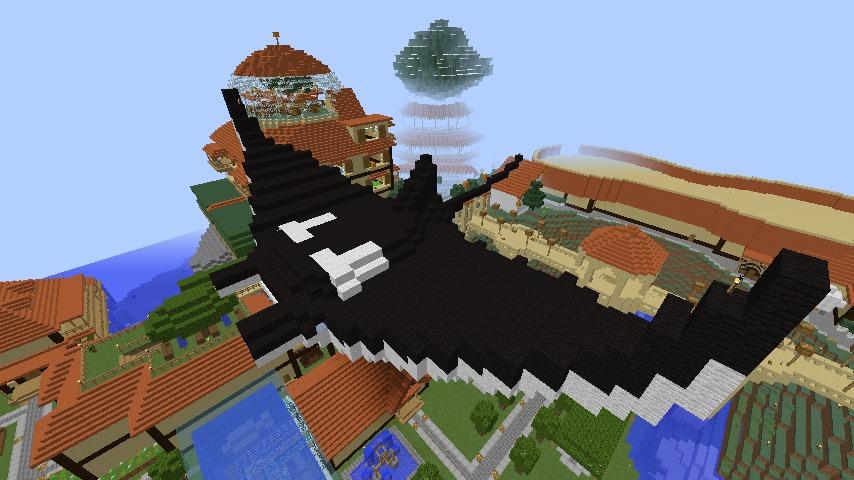 Minecrafterししゃもがマインクラフトでぷっこ村に空を泳ぐ巨大マンタを作成する1
