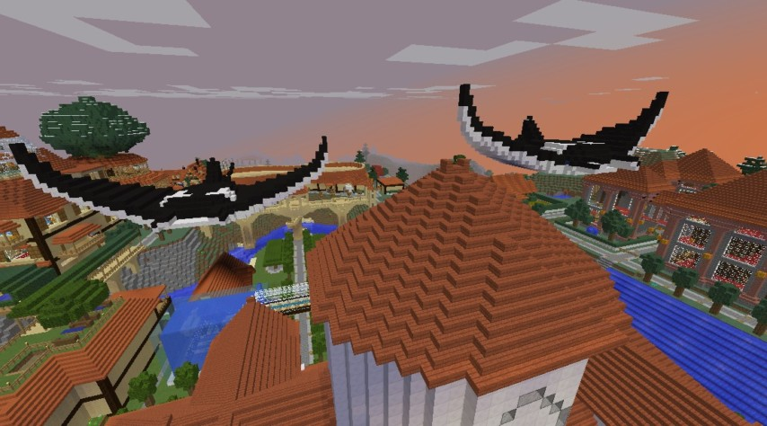 Minecrafterししゃもがマインクラフトでぷっこ村に空を泳ぐ巨大マンタを作成する4
