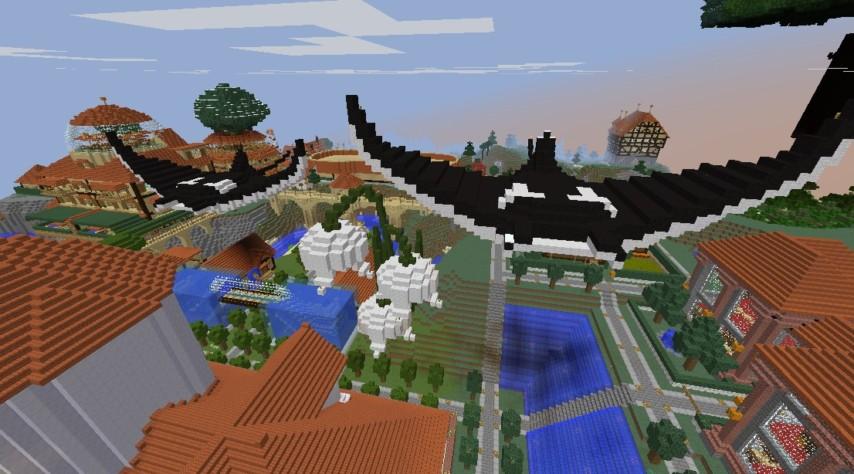 Minecrafterししゃもがマインクラフトでぷっこ村に空を泳ぐ巨大マンタを作成する2
