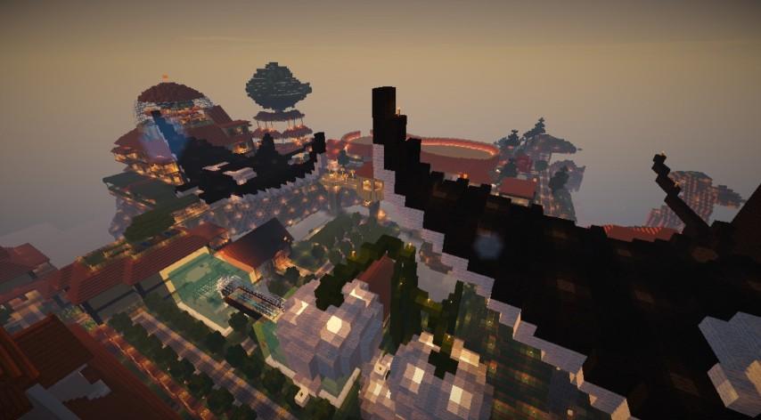 Minecrafterししゃもがマインクラフトでぷっこ村に空を泳ぐ巨大マンタを作成する3