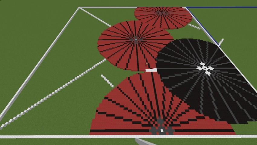 Minecrafterししゃもがマインクラフトでぷっこ村に地図で番傘と桜吹雪の絵画を作成する2