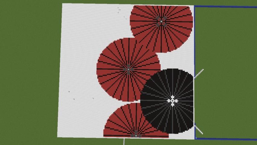 Minecrafterししゃもがマインクラフトでぷっこ村に地図で番傘と桜吹雪の絵画を作成する4