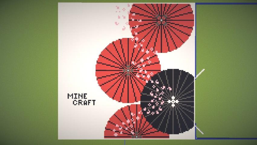Minecrafterししゃもがマインクラフトでぷっこ村に地図で番傘と桜吹雪の絵画を作成する6