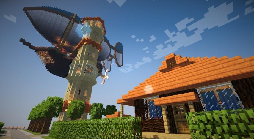 Minecrafterししゃもがマインクラフトでぷっこ村に観光用の遊覧飛行船を建設する10