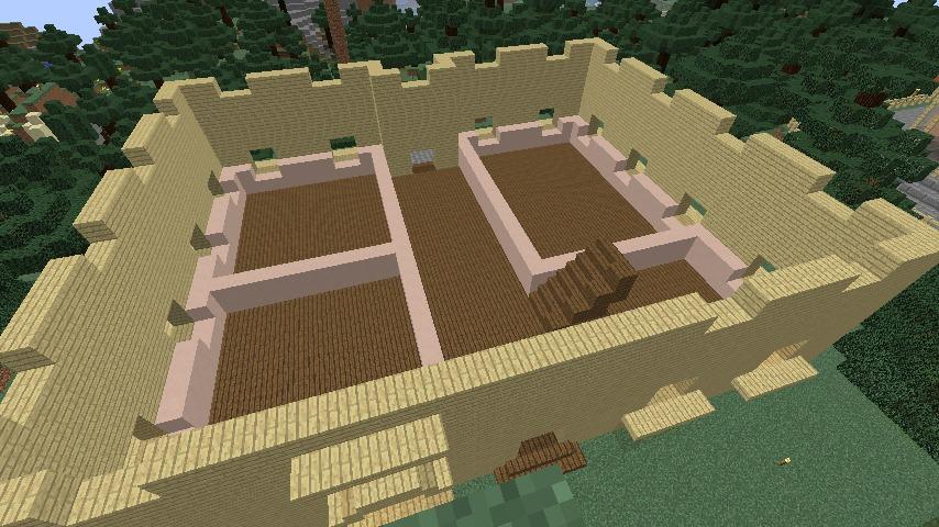 Minecrafterししゃもがマインクラフトでぷっこ村にスチイル記念学校をモデルにした学校を建設する4