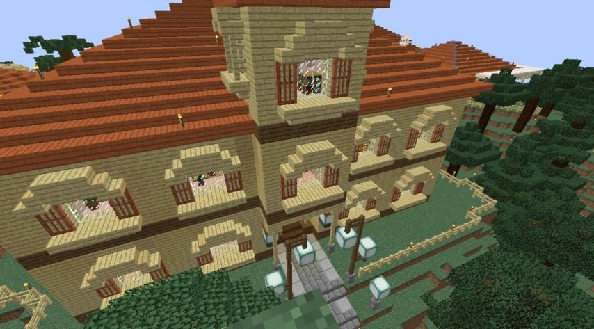 Minecrafterししゃもがマインクラフトでぷっこ村にスチイル記念学校をモデルにした学校を建設する7