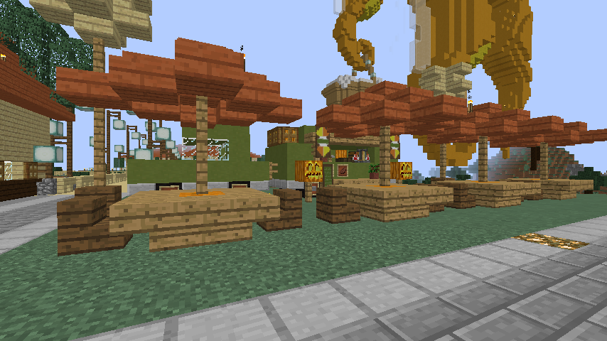 Minecrafterししゃもがマインクラフトでぷっこ村にトレーラー型店舗のホットドック屋を建設する2