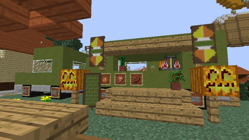 Minecrafterししゃもがマインクラフトでぷっこ村にトレーラー型店舗のホットドック屋を建設する1