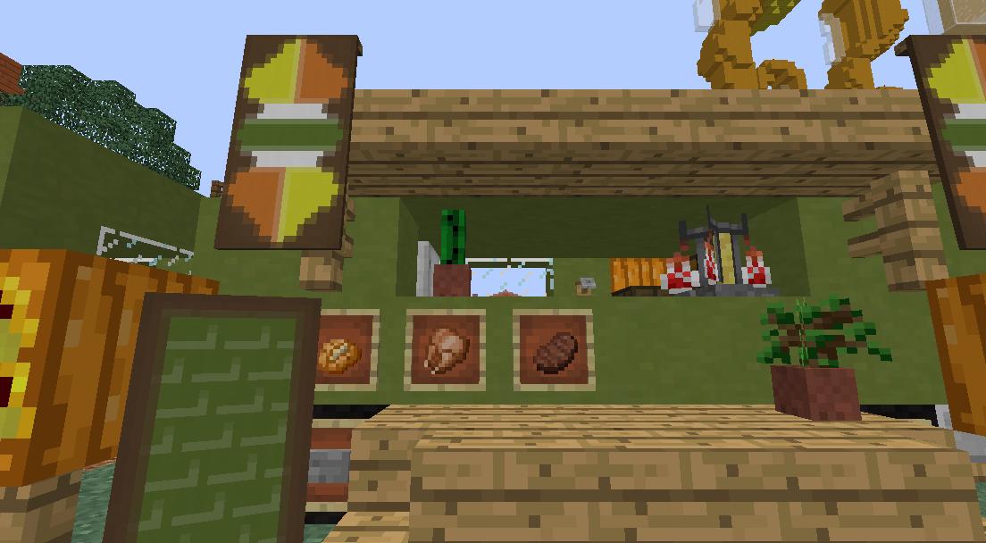 Minecrafterししゃもがマインクラフトでぷっこ村にトレーラー型店舗のホットドック屋を建設する4