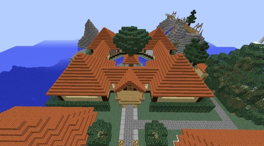 Minecrafterししゃもがマインクラフトでぷっこ村に観光名所の四季の館を建設する1