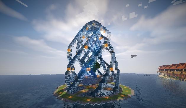 Minecrafterししゃもがマインクラフトでぷっこ村に水のカーテンを作成し作成方法を茶番を演じながら紹介する3