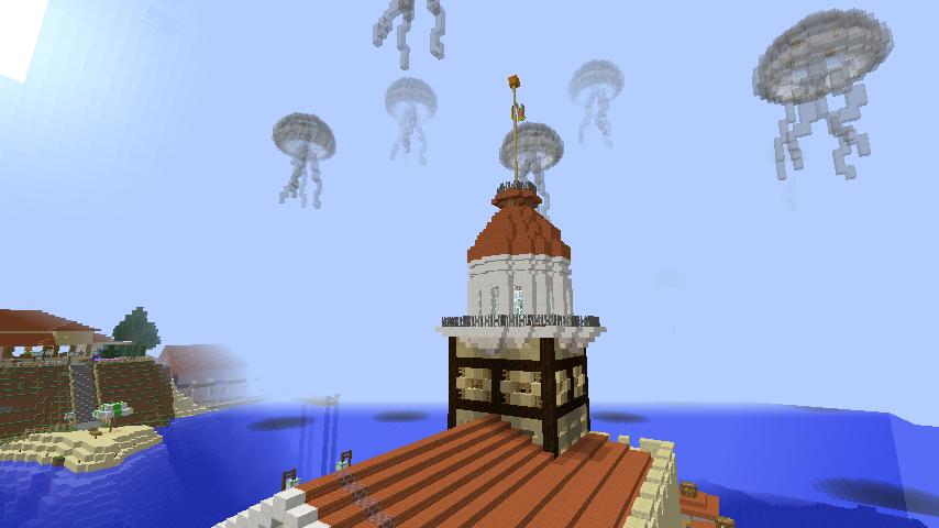 Minecrafterししゃもがマインクラフトでぷっこ村の公開の安全を願って灯台を建てる9