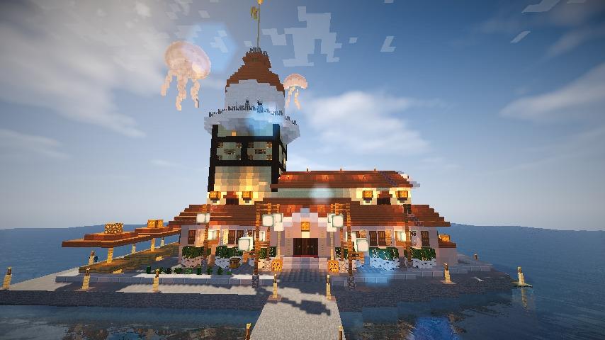 Minecrafterししゃもがマインクラフトでぷっこ村の公開の安全を願って灯台を建てる19