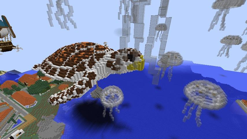Minecrafterししゃもがマインクラフトでぷっこ村にウミガメを作成し猫のシシャモ君と仲良しになってもらう4