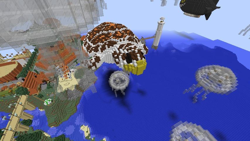 Minecrafterししゃもがマインクラフトでぷっこ村にウミガメを作成し猫のシシャモ君と仲良しになってもらう2