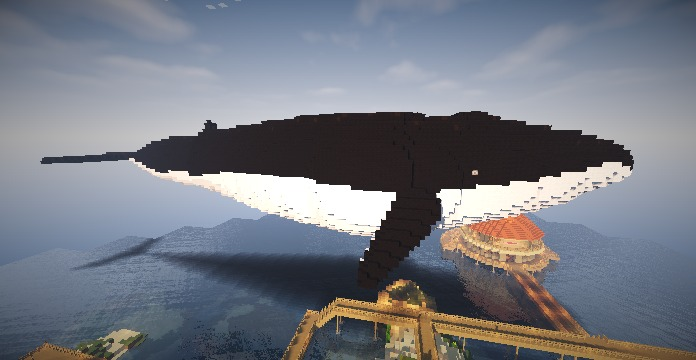 Minecrafterししゃもがぷっこ村に空飛ぶ巨大クジラを作成する1