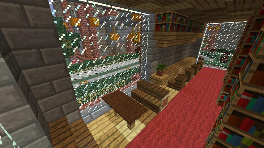 Minecrafterししゃもが、マインクラフトでぷっこ村にマンガ図書館を建設する5