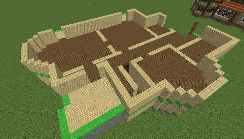 Minecrafterししゃもがマインクラフトでぷっこ村にブラフ18番館を建設し巨大噴水を眺めながらくつろげる観光資源化する3
