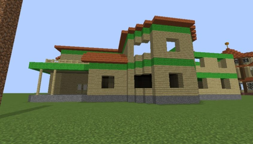 Minecrafterししゃもがマインクラフトでぷっこ村にブラフ18番館を建設し巨大噴水を眺めながらくつろげる観光資源化する6