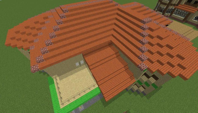 Minecrafterししゃもがマインクラフトでぷっこ村にブラフ18番館を建設し巨大噴水を眺めながらくつろげる観光資源化する7