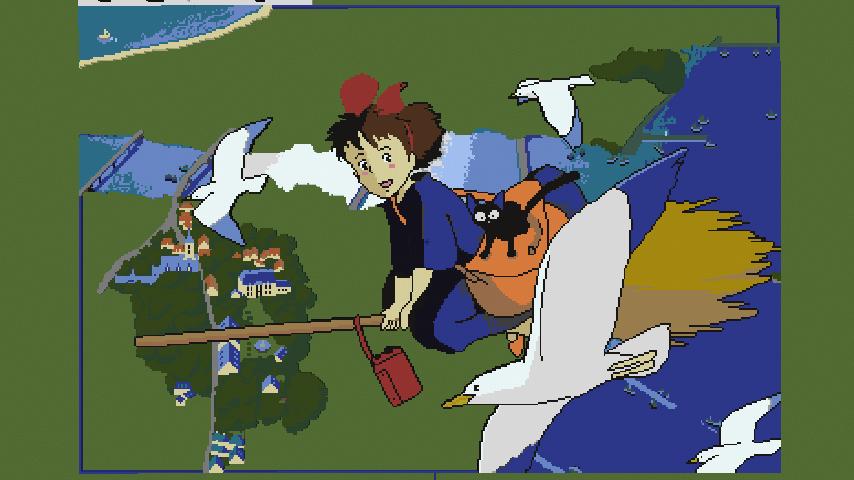 Minecrafterししゃもがマインクラフトで地図を使った絵画の追加でジブリ作品の魔女の宅急便をドット絵化する5