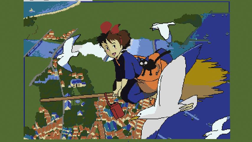 Minecrafterししゃもがマインクラフトで地図を使った絵画の追加でジブリ作品の魔女の宅急便をドット絵化する6