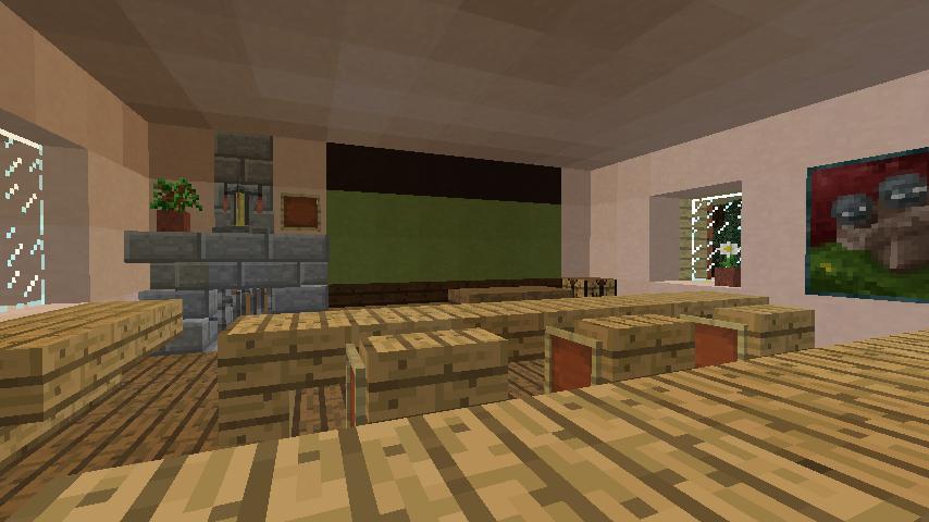 Minecrafterししゃもがマインクラフトでぷっこ村に旧スチイル記念学校をモデルにした学校を建設する3