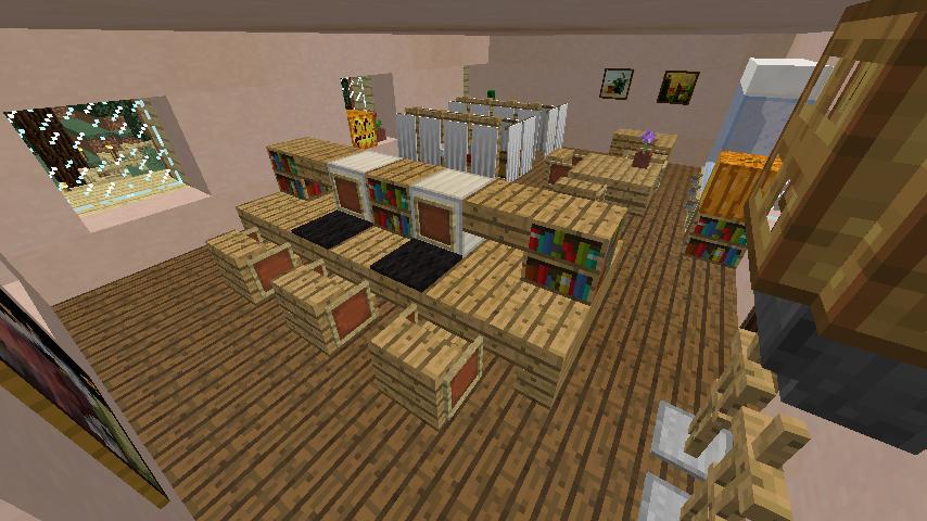 Minecrafterししゃもがマインクラフトでぷっこ村に旧スチイル記念学校をモデルにした学校を建設する4