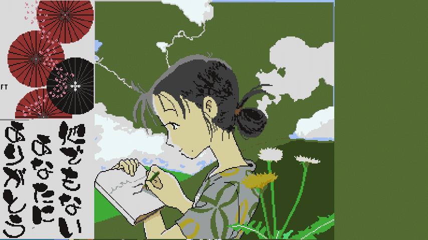 Minecrafterししゃもがマインクラフトでぷっこ村に地図でドット絵で再現した「この世界の片隅に」のポスターを作成をする8