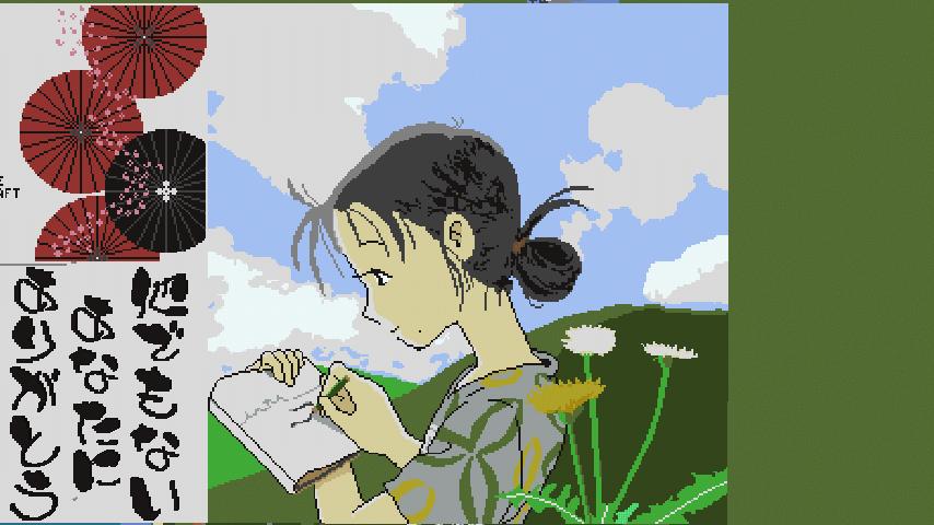 Minecrafterししゃもがマインクラフトでぷっこ村に地図でドット絵で再現した「この世界の片隅に」のポスターを作成をする9