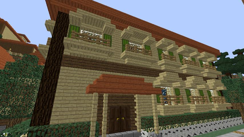 Minecrafterししゃもがマインクラフトでぷっこ村にグラバー園にある旧自由邸をぷっこ村仕様でアレンジ再現する11