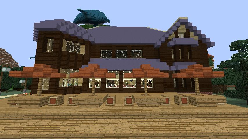 Minecrafterししゃもがマインクラフトでぷっこ村に古我邸旧荘清次郎別荘を再現し茶番を演じる2