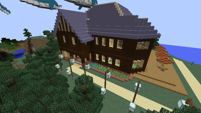 Minecrafterししゃもがマインクラフトでぷっこ村に古我邸旧荘清次郎別荘を再現し茶番を演じる1