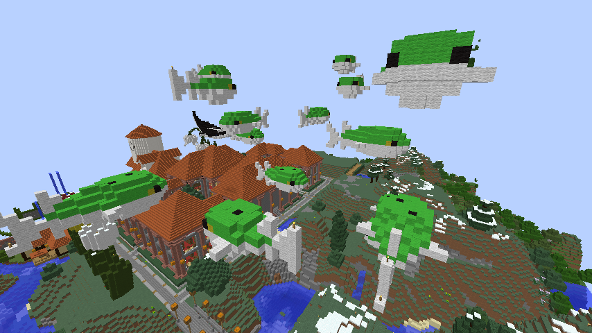 Minecrafterししゃもがマインクラフトでぷっこ村にフグの親子とタツノオトシゴの親子を作成し紹介する2