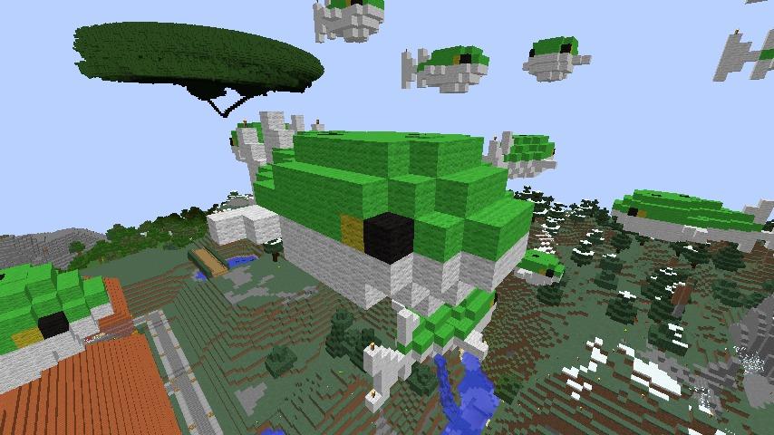 Minecrafterししゃもがマインクラフトでぷっこ村にフグの親子とタツノオトシゴの親子を作成し紹介する3