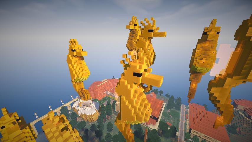Minecrafterししゃもがマインクラフトでぷっこ村にフグの親子とタツノオトシゴの親子を作成し紹介する7