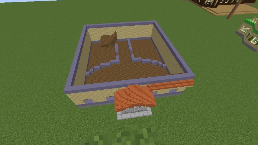 Minecrafterししゃもがマインクラフトでぷっこ村に宮崎県にある旧飯田医院をアレンジ再現した診療所を建設する5