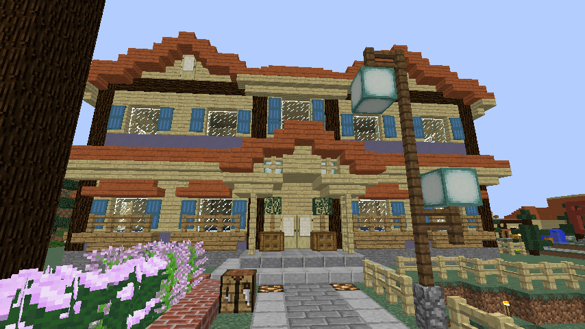 Minecrafterししゃもがマインクラフトでぷっこ村に宮崎県にある旧飯田医院をアレンジ再現した診療所を建設する8