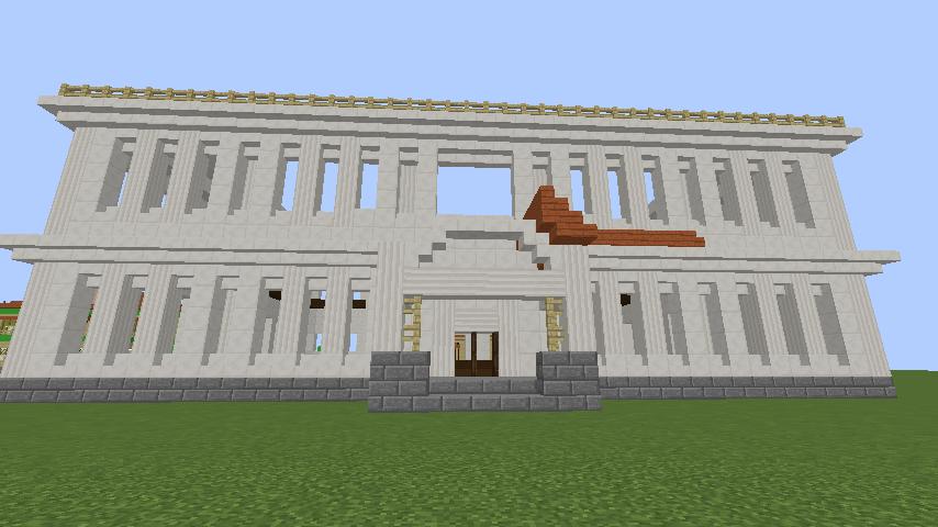 Minecrafterししゃもがマインクラフトでぷっこ村に青森銀行記念館をモデルにしたドングリーバンクを建設する8